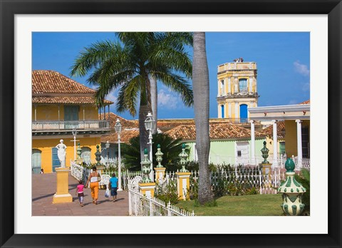 Framed Plaza Mayor, Trinidad, UNESCO World Heritage site, Cuba Print
