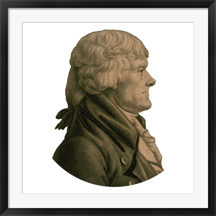 Framed Digitally Restored Portrait of Thomas Jefferson (sepia toned) Print