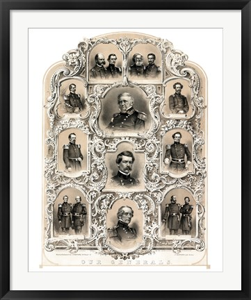 Framed Primary Union Generals from 1862 Print