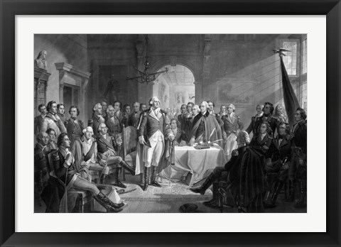 Framed General George Washington and his Military Commanders Meeting Print