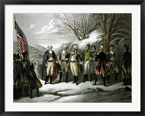 Framed General George Washington and his Military Commanders Print
