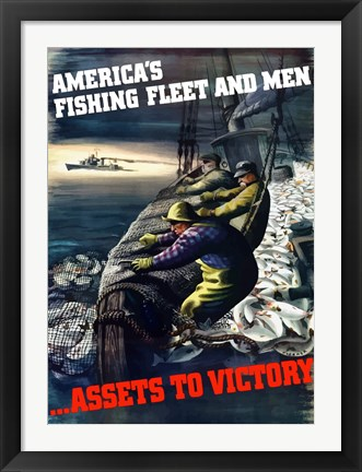 Framed America's Fishing Fleet and Men Print