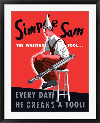 Framed Simple Sam the Wasting Fool Print