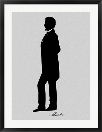 Framed Silhouette of President Abraham Lincoln with Signature Print