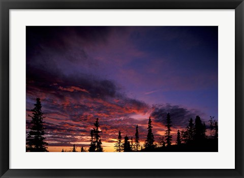 Framed Solstice Sunset atop Midnight Dome, Dawson City, Yukon, Canada Print