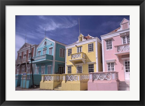 Framed Caribbean architecture, Willemstad, Curacao Print