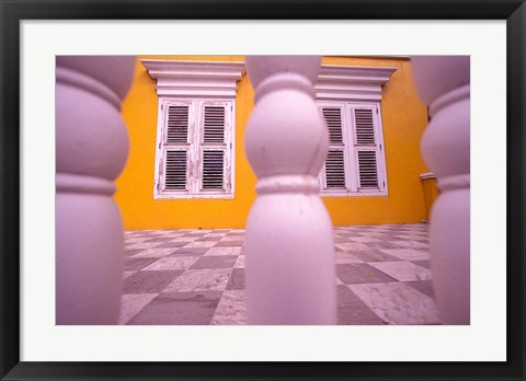 Framed Yellow Building and Detail, Willemstad, Curacao, Caribbean Print