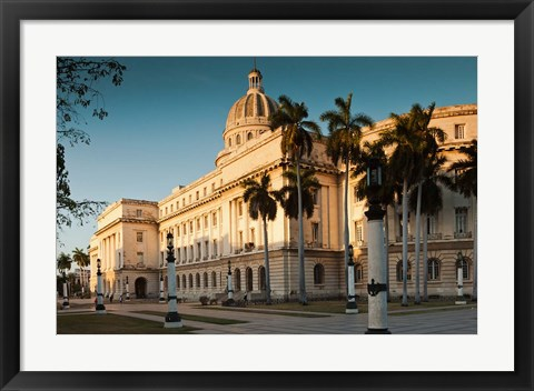 Framed Cuba, Havana, Capitol Building, sunset Print