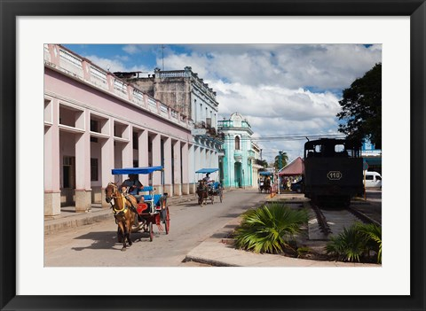 Framed Cuba, Matanzas Province, Colon, horse drawn taxi Print