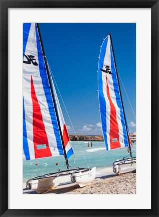 Framed Cuba, Matanzas, Varadero Beach, leisure boats Print