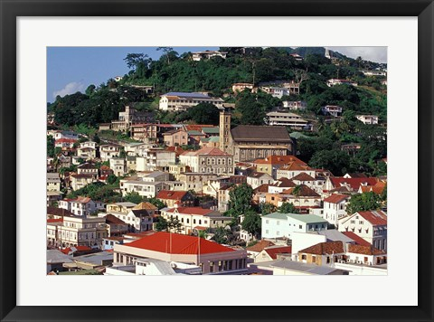 Framed View of Downtown St George, Grenada, Caribbean Print