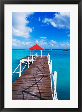 Framed Dock in St Francois, Guadeloupe, Puerto Rico Print