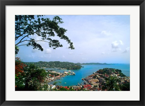 Framed View from Mountain of St Georges, Grenada, Caribbean Print