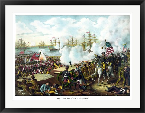 Framed Battle of New Orleans, 1812 Print