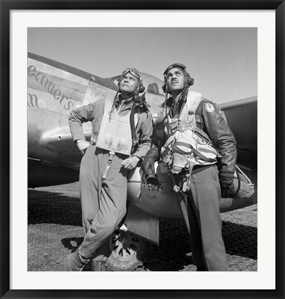 Framed Tuskegee Airmen Posing with a P-51D Aircraft Print