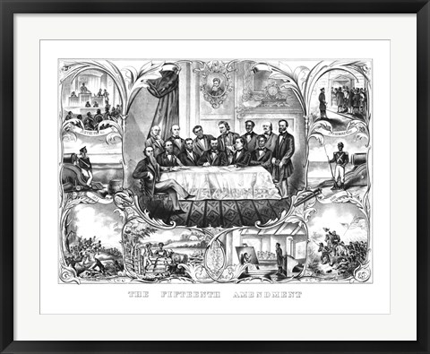 Framed President Ulysses Grant Signing the 15th Amendment Print