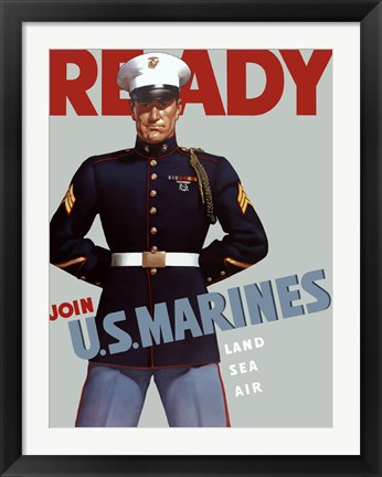 Framed Marine Corps Recruiting Poster from World War II Print