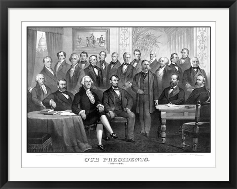 Framed First Twenty-One Presidents Seated Together in The White House Print
