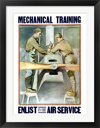 Framed Mechanical training - Enlist in the Air Service Print