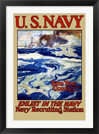 Framed U.S. Navy - Help Your Country! Print