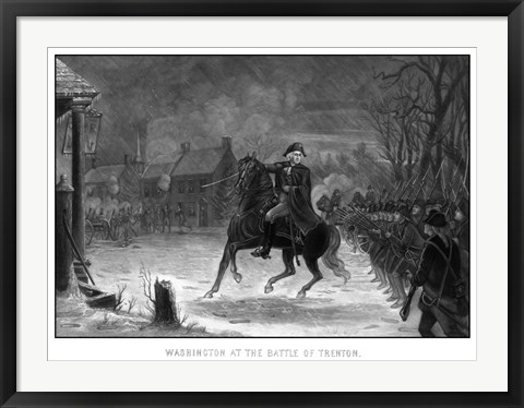 Framed George Washington at The Battle of Trenton Print