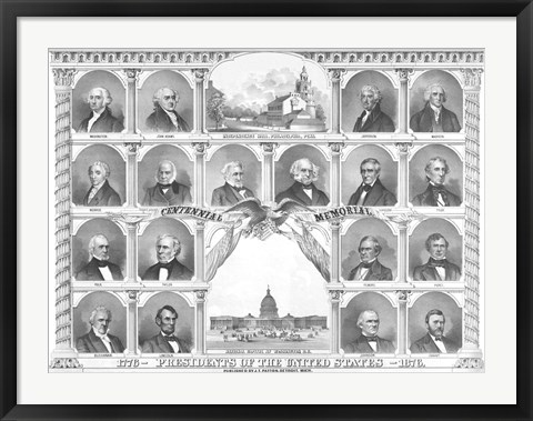 Framed First Eighteen Presidents of The United States Print
