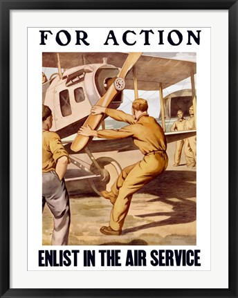 Framed For Action - Enlist in the Air Service Print