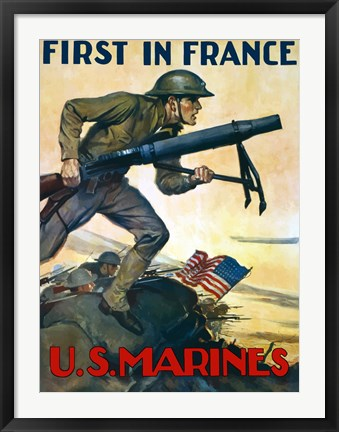 Framed First in France - U.S. Marines Print
