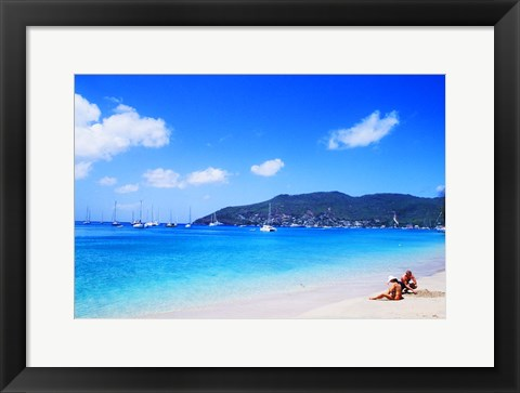 Framed Couple Enjoying Princess Margaret Beach in Bequia, Grenadines Print