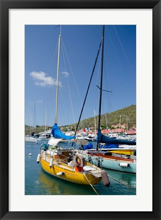 Framed Colorful boats, Gustavia, Shell Beach, St Bart's, West Indies Print