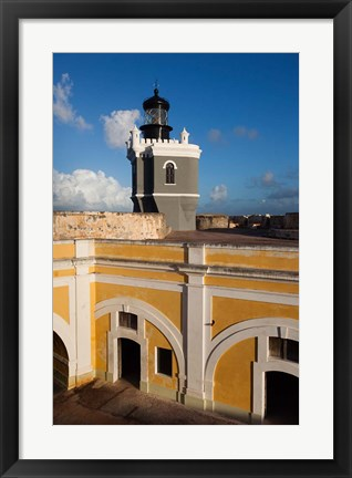 Framed Puerto Rico, Old San Juan, El Morro lighthouse Print