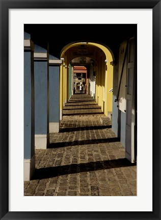 Framed Caribbean, USVI, St Croix, Christiansted, Path Arches Print
