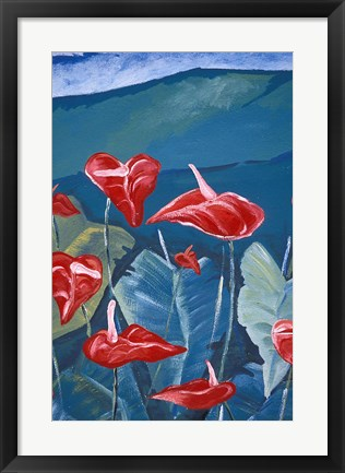 Framed Anthurium Mural in Jardin de Balata, Martinique, Caribbean Print
