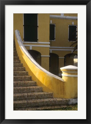 Framed Customs House exterior stairway, Christiansted, St Croix, US Virgin Islands Print