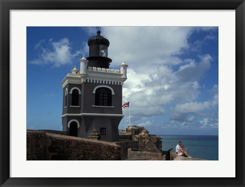 Framed Tower at El Morro Fortress, Old San Juan, Puerto Rico Print