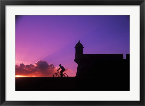 Framed Sunset Bike Ride at El Morro Fort, Old San Juan, Puerto Rico Print