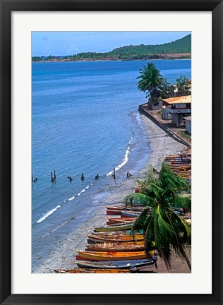 Framed Fishing Boats on Shore, St Lucia Print