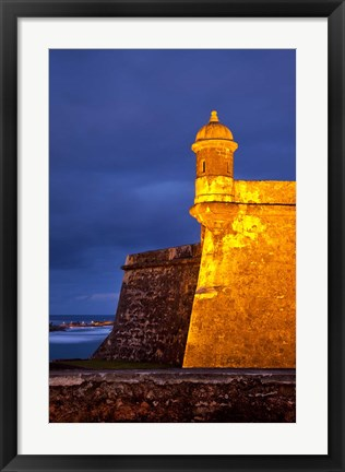Framed El Morro Fort lit up, Old San Juan, Puerto Rico Print
