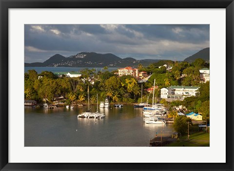 Framed Boats, Castries, St Lucia, West Indies, Caribbean Print