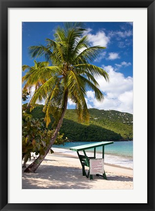 Framed Beach, Lifeguard post, St Thomas, US Virgin Islands Print