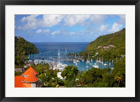 Framed Marigot Bay, St Lucia, West Indies, Caribbean Print