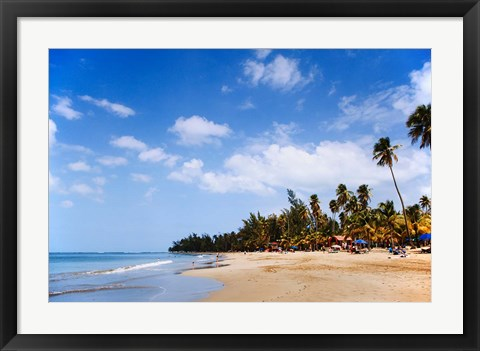 Framed View of Luquillo Beach, Puerto Rico, Caribbean Print