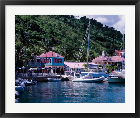 Framed Sopers Hole Wharf, Pussers Landing, Frenchmans Cay, Tortola, Caribbean Print