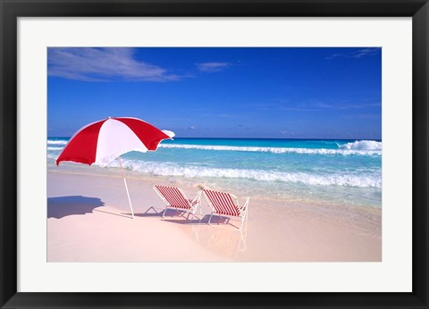 Framed Beach Umbrella and Chairs, Caribbean Print