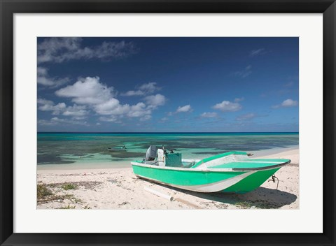 Framed Boat and Turquoise Water on Pillory Beach, Turks and Caicos, Caribbean Print