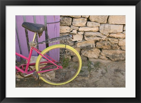 Framed Colorful Bicycle on Salt Cay Island, Turks and Caicos, Caribbean Print