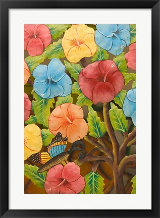 Framed Floral Souvenirs at Al Vern's Craft Market, Turks and Caicos, Caribbean Print