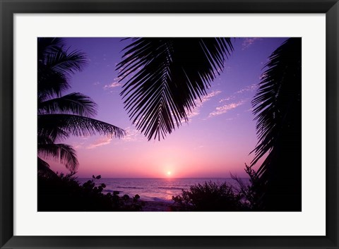 Framed Sunset, Cayman Brac, Cayman Islands, Caribbean Print
