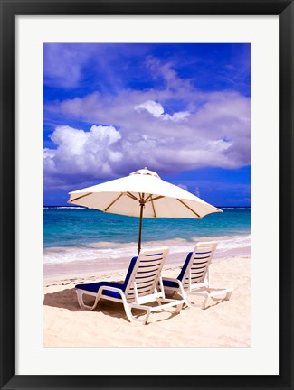 Framed Umbrellas On Dawn Beach, St Maarten, Caribbean Print