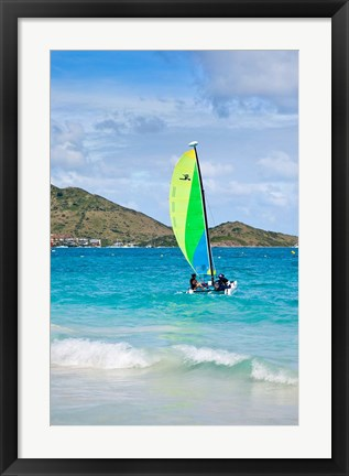 Framed Hobe cat, Orient Beach, St Maarten, West Indies Print